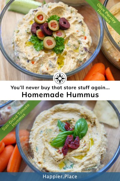 Sundried tomato and olive tapenade hummus recipes better than store-bought - #HappierPlace #recipes