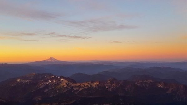 Mount Rainier seen from Camp Muir during Magic Hour