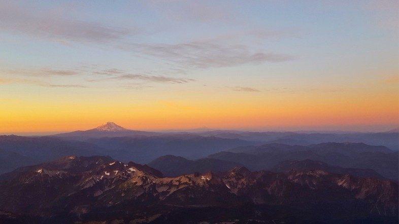 Mount Rainier seen from Camp Muir during Magic Hour