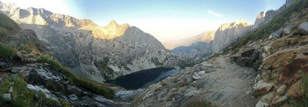 Glacier Lake along the High Sierra Trail in the Sierra Nevada Mountain Range in California