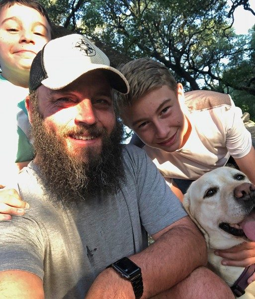 Father and sons and dog - Jake Gray and family with Happier Place Burlap Trucker Hat