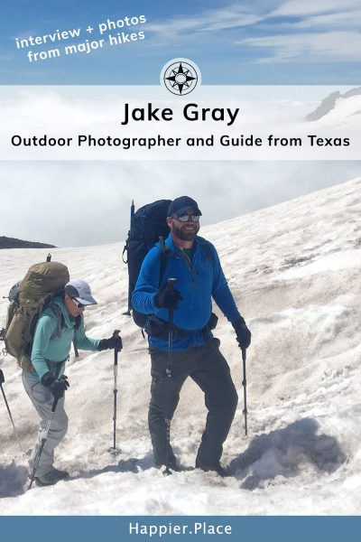 Jake Gray outdoor photographer and guide hiking snowy Mt. Rainier in Washington