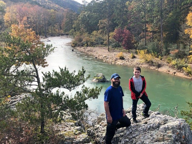 Father and son on the Eagle Loop Trail in Arkansas - Jake Gray - HappierPlace