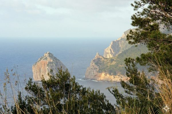 Views of cliffs, rock islands lots of plands from the road up to Cap de Formentor on Mallorca.