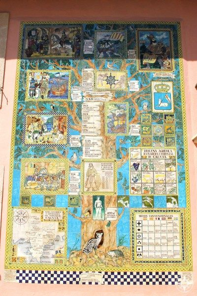 Ceramic tiles on the side of a building show the history of the Calvià region through the centuries.