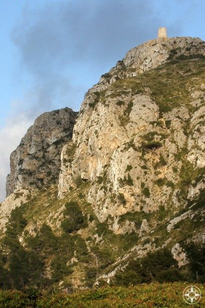 Ancient watchtower of Talaia d'Albertcutx seen from the road below in Mallorca, Spain.