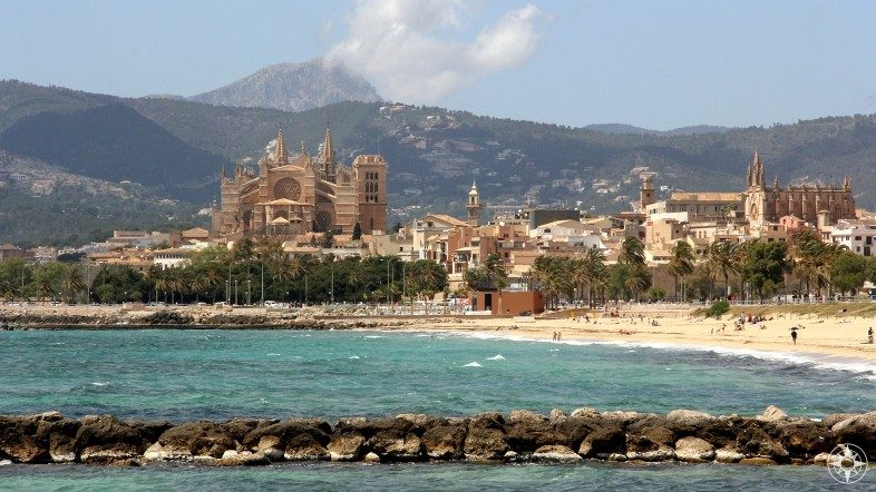 The city of Palma sits between the mountains and the sea and is home to the Cathedral of Santa Maria of Palma (aka La Seu)