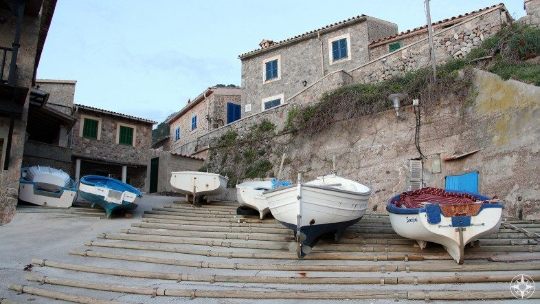 Small boats in the seaside village Port de Valldemossa on the Balearic Island of Mallorca in the Mediterranean.