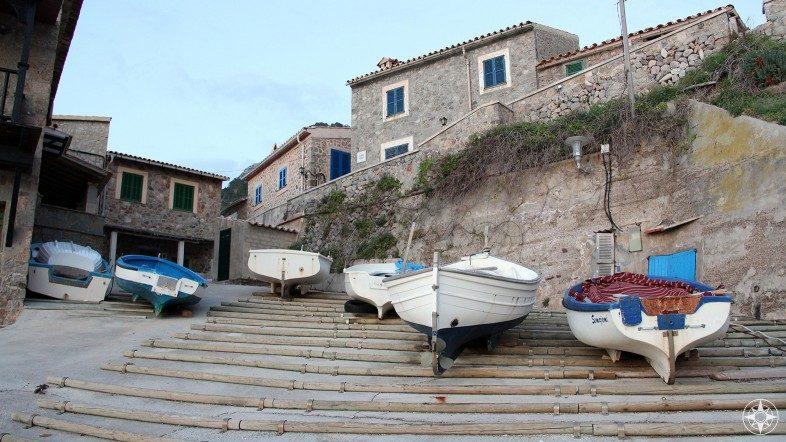 Small boats in the seaside village Port de Valldemossa on the Balearic Island of Mallorca in the Mediterranean.