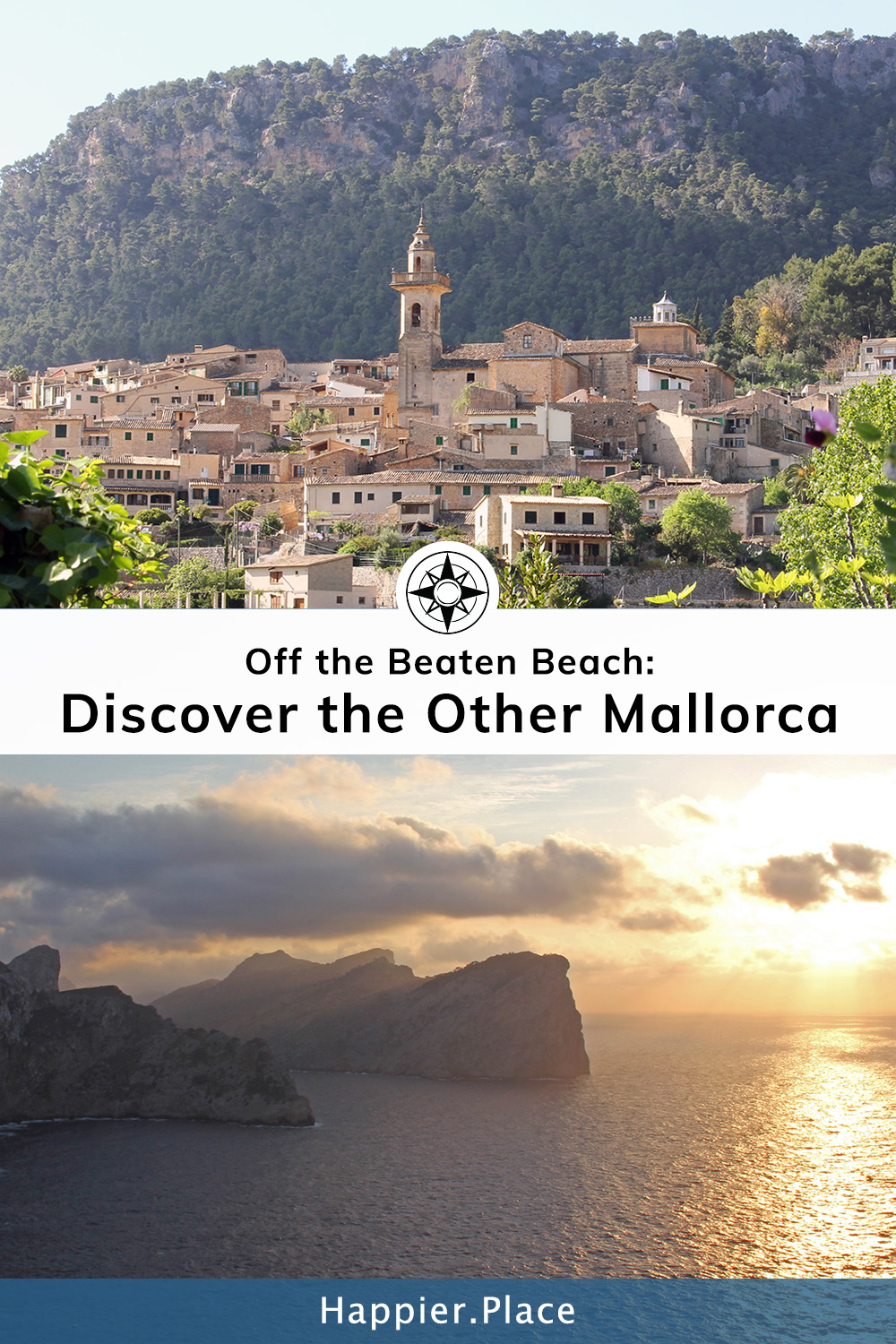 Off the Beaten Beach: Discover the Other Mallorca - featuring Valldemossa mountain village and Cap de Formentor sunset.