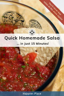 Quick homemade restaurant-style salsa in just 15 minutes. You'll never buy salsa at the store again! #recipe #snacks #picnic #HappierPlace