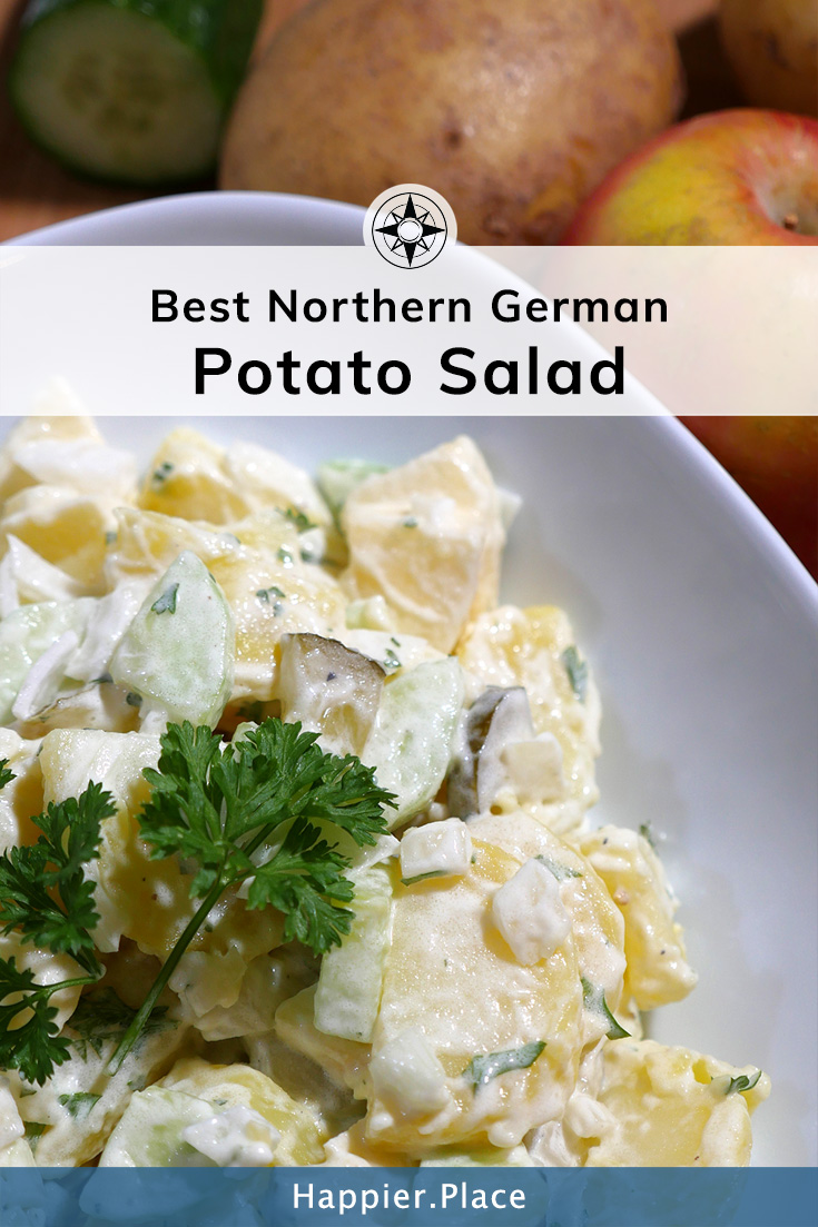 Crunchy, refreshing and satisfying: The Best Northern German Potato Salad recipe with apple and cucumber - #HappierPlace #recipe #easyrecipe #picnic