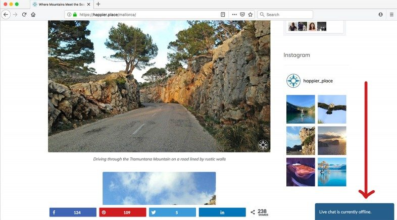 Happier Place Live Chat offline icon on Mallorca page