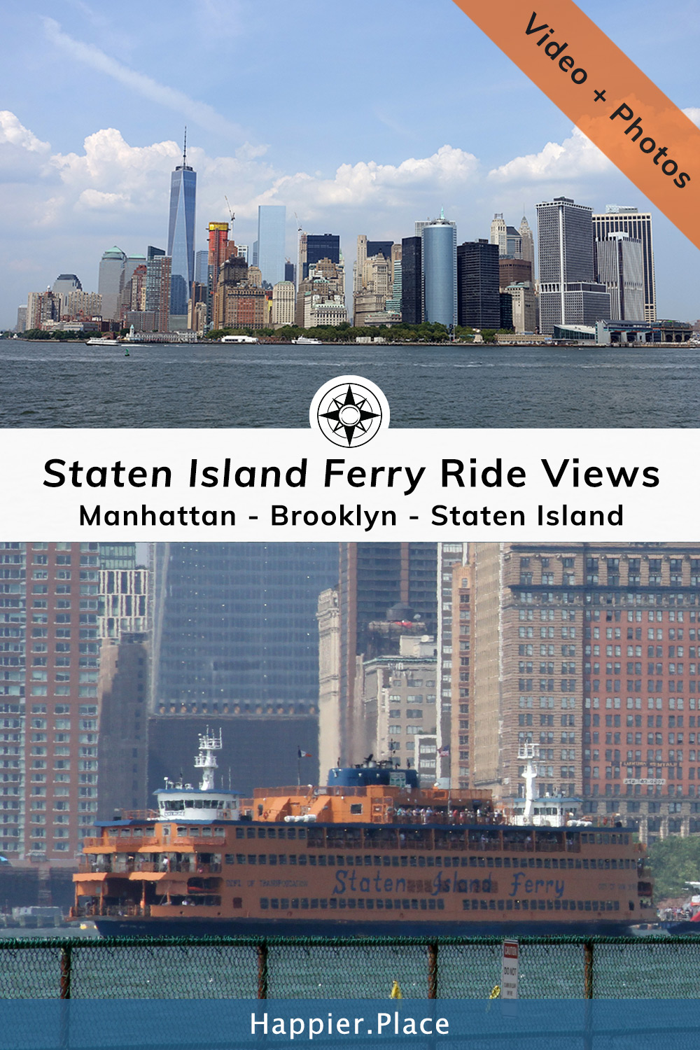 Staten Island Ferry Views from Manhattan, along Brooklyn and the Statue of Liberty to Staten Island and back. Video and photos from this moving Happier Place!