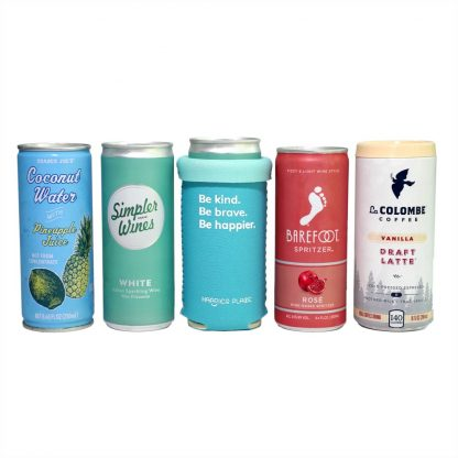 Folded over Be Kind Slim Can Cooler fits Simpler Wines La Colombe Coffee Barefoot Spritzer and all other 8 - 9 oz slim cans.