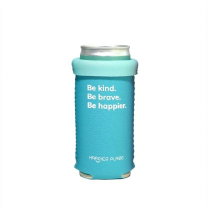 Folded over the Happier Place Be Kind Slim Can Cozy fits 9 oz skinny short cans - popular for canned wine, sparkling wine and coffee drinks in a can.