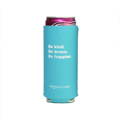 Happier Place Be Kind Slim Can Cooler holds a Henry's Hard Seltzer and keeps it nice and cool.