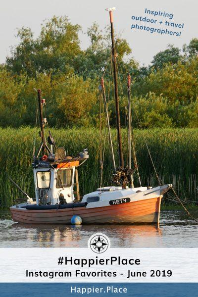 Classic German fishing boat representing #HappierPlace Instagram favorites June 2019