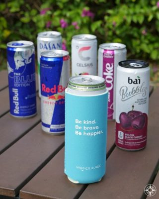 The Happier Slim Can Coolie fits the 12 oz. slim cans that have become super popular for sodas, sparkling waters, fitness and energy drinks.