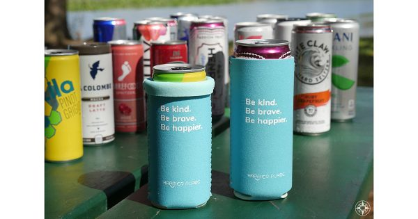Happier Place Neoprene Slim Can Cooler with hard seltzer wine coffee drinks - Be kind Be brave Be happier - HappierPlace