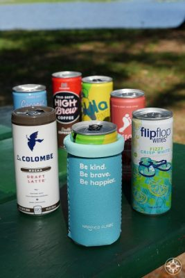 Be kind Be brave Be happier Slim Can Cozy fits short slim cans for coffee drinks like La Colombe and High Brew and wines like flipflop, Barefoot and Lila wines.
