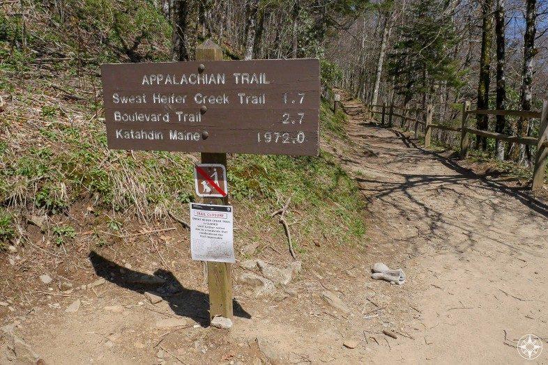 Appalachian Trail sign to Katahdin Maine at Newfound Gap Smoky Mountains Park