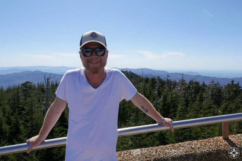 Scott Solary wearing Happier Place Trucker Hat on Clingmans Dome