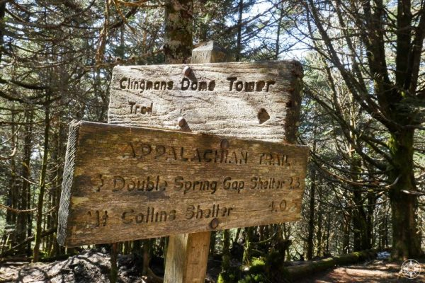 Appalachian Trail sign near Clingmans Dome Tower highest point of AT
