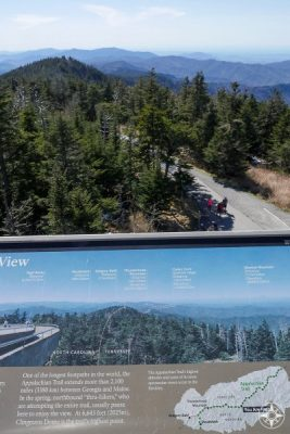 Appalachian Trail and Tennessee North Carolina state line seen from Clingmans Dome Tower