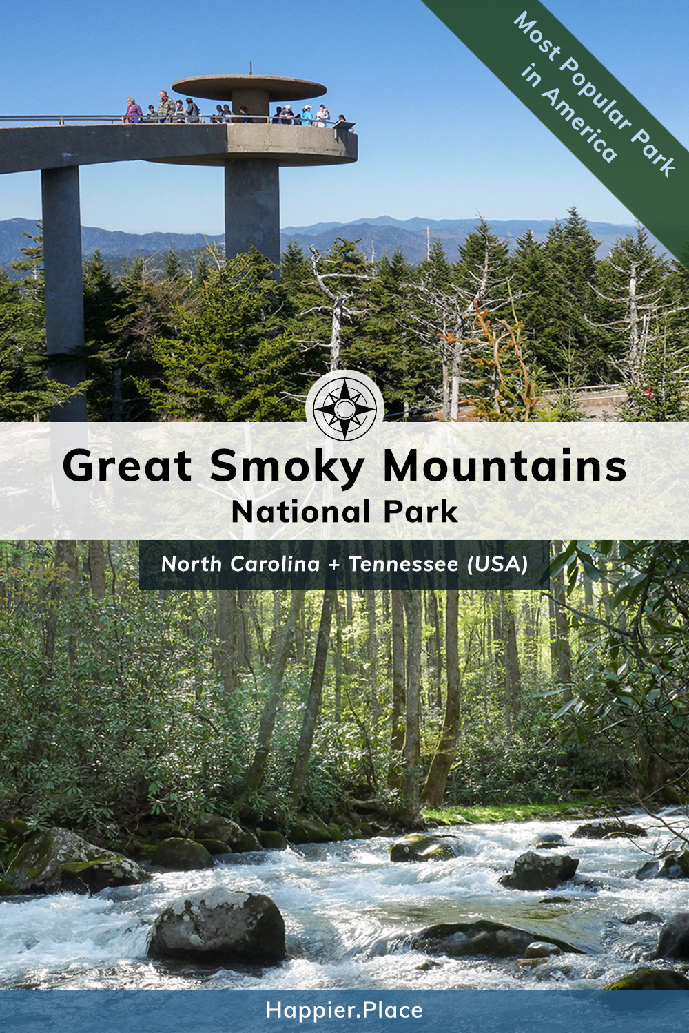 America\'s Most Popular Park: Great Smoky Mountains National Park in North Carolina and Tennessee  #HappierPlace #USA #NationalPark #travelguide #outdoor #hiking #travel #Tennessee #NorthCarolina