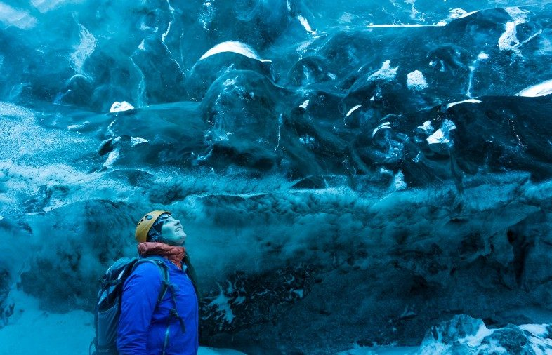 Taryn Eaton of Happiest Outdoors in Iceland ice cave