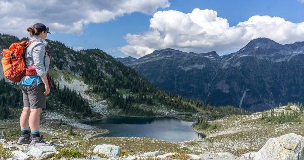 HappiestOutdoors adventure travel writer Taryn Eyton above Russet Lake near Vancouver - British Columbia