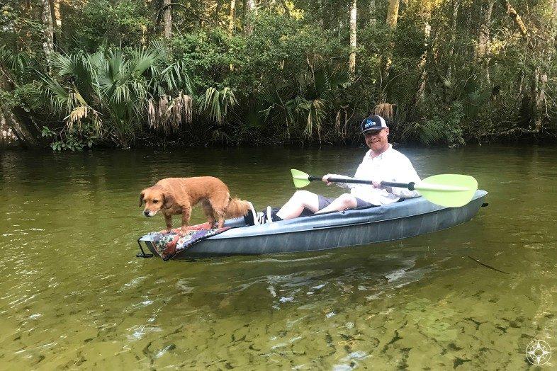 Kayak with Whiskey Dog on the Weeki Wachee River