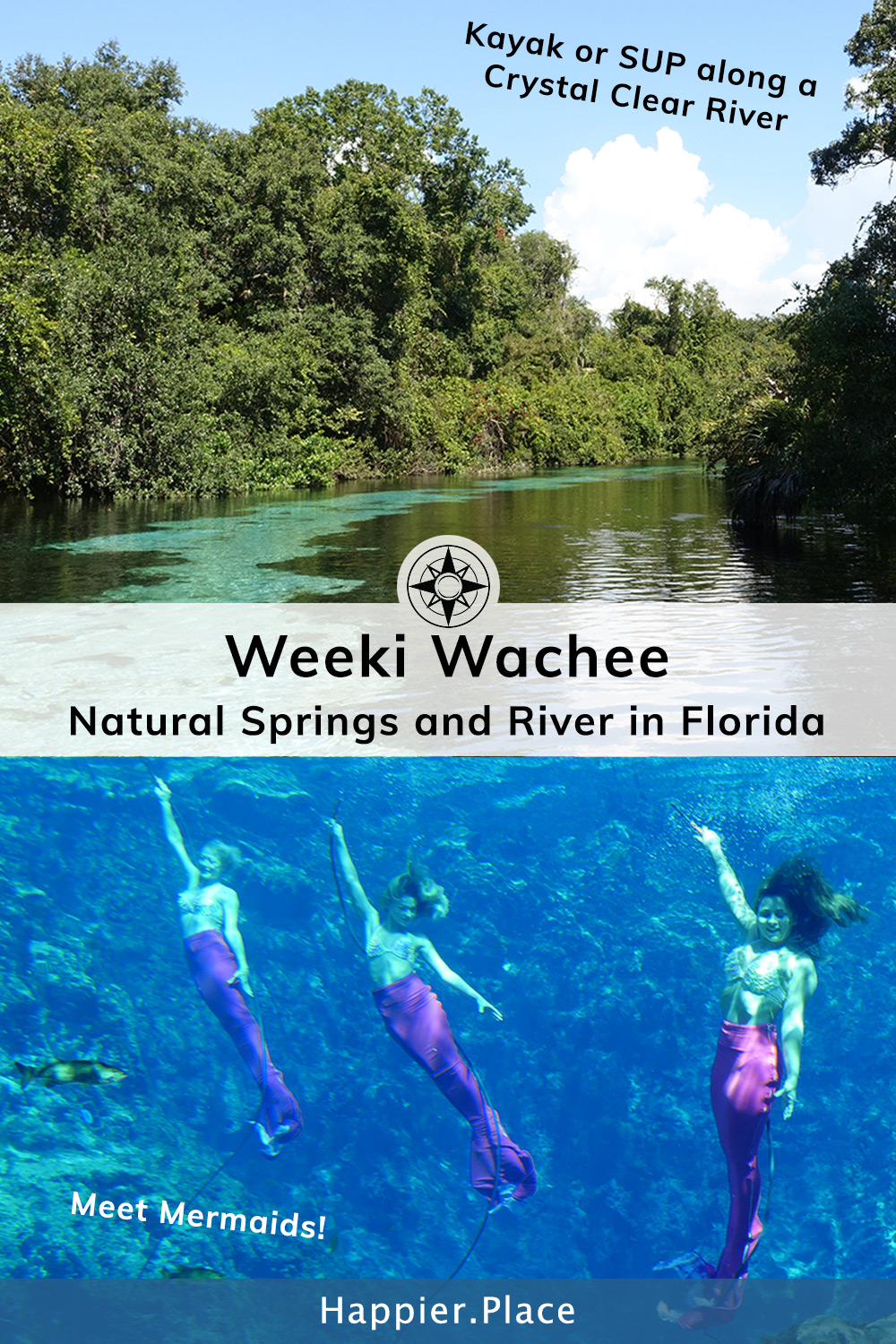 Weeki Wachee Springs and River in Florida - Meet Mermaids, swim in a natural spring and paddle the crystal clear river.  #HappierPlace #Florida #mermaid #river #SUP #kayak #outdoors #travelguide #outdoorguide #fishing