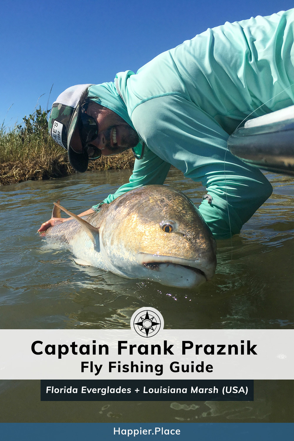 Captain Frank Praznik, Fly Fishing Guide in Louisiana Marsh and Florida Everglades. Seen here with a Red Fish.