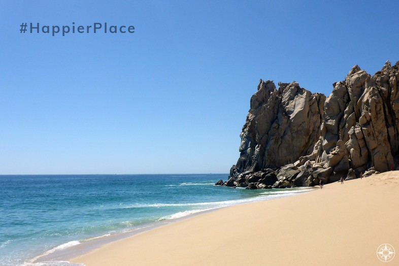 Rock formations, sandy beach, clear water on Divorce Beach, Los Cabos, Mexico, #HappierPlace