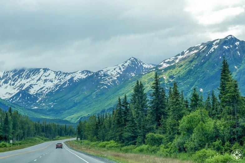 Highway Alaska Kenai Peninsula forest mountains