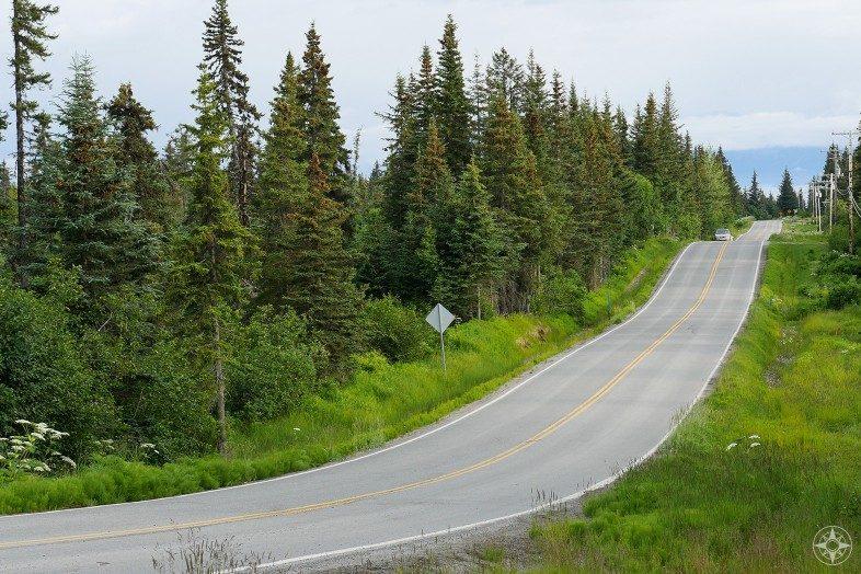Alaska Highway 1 Kenai Peninsula Homer up the hill with bay