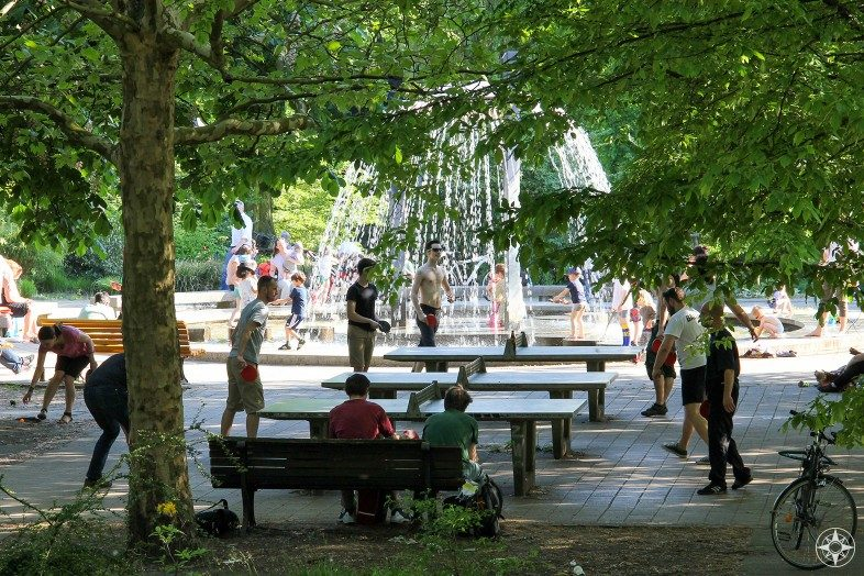 Ping pong tables and fountain in Berlin