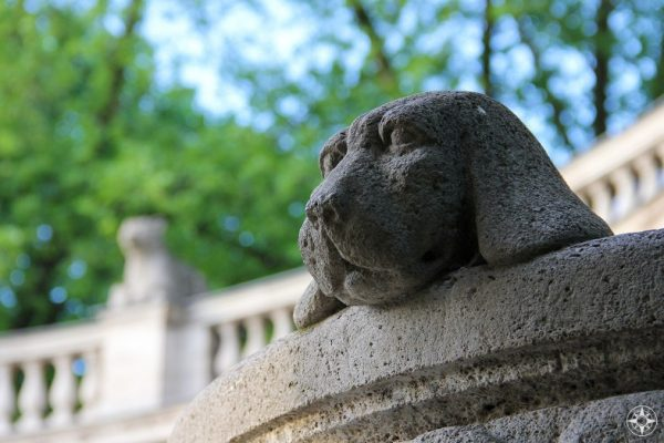 Puppy! One of over 100 statues around the Maerchenbrunnen, Fairy Tale Fountain, in Berlin