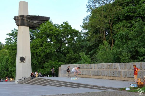 """""""For Your Freedom And Ours"""" Skateboarders at the Polish Soldiers and German Anti-Fascist Memorial in Volkspark Friedrichshain Berlin"""