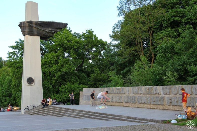"""For Your Freedom And Ours"" Skateboarders at the Polish Soldiers and German Anti-Fascist Memorial in Volkspark Friedrichshain Berlin"
