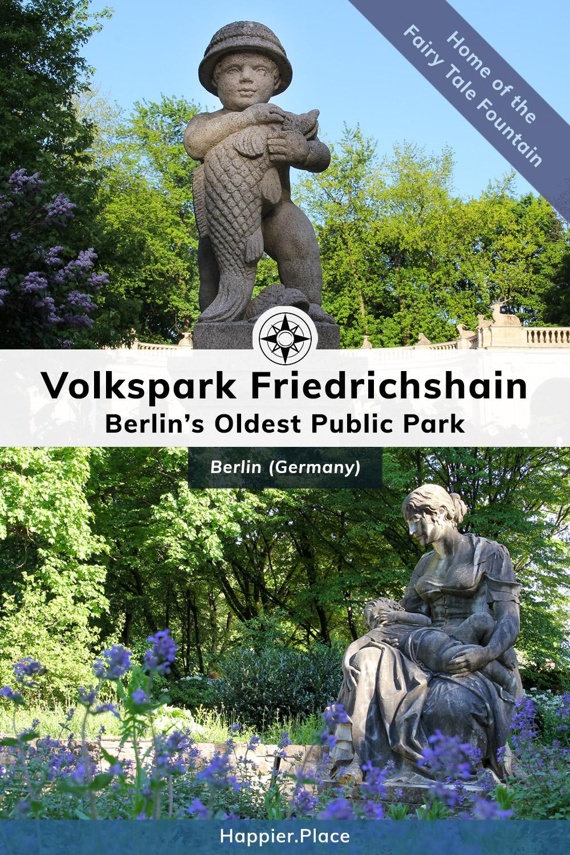 Berlins Oldest Park, Volkspark Friedrichshain, statues, purple flowers, Maerchenbrunnen