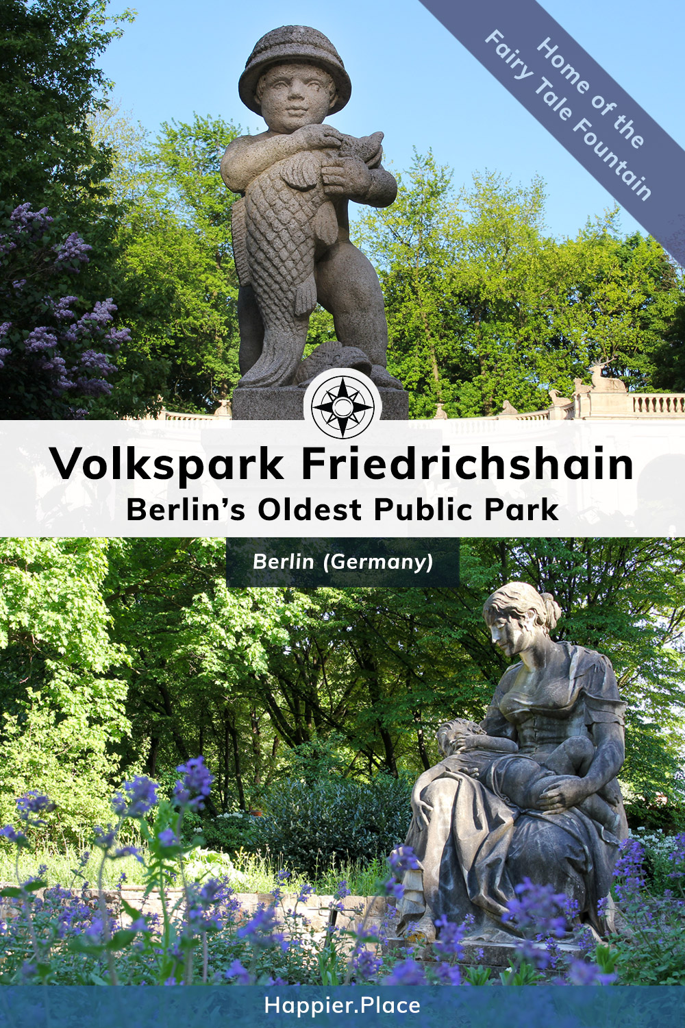 Berlins Oldest Park, Volkspark Friedrichshain, statues, purple flowers, Maerchenbrunnen