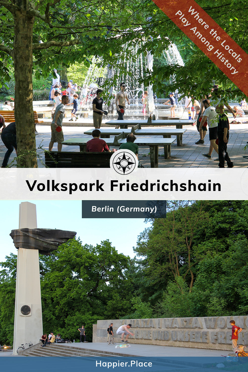 Volkspark Friedrichshain, Berlin, Germany - where locals play among history - ping pong, table tennis, skateboard, polish anti-fascist german memorial