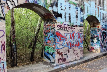 Forest behind wall of graffiti, Suedgelaende, Berlin, street art, postcard