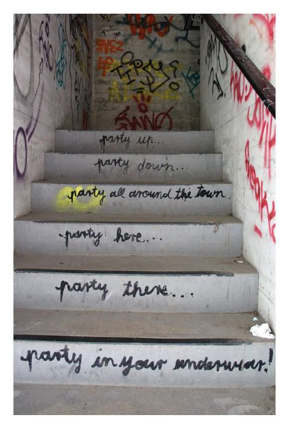 party in your underwear, Teufelsberg, graffiti, street art, stairs, Berlin, postcard