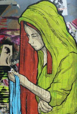 Can't Wash Off The City Colors In My Brain by El Bocho in Berlin, woman, street art