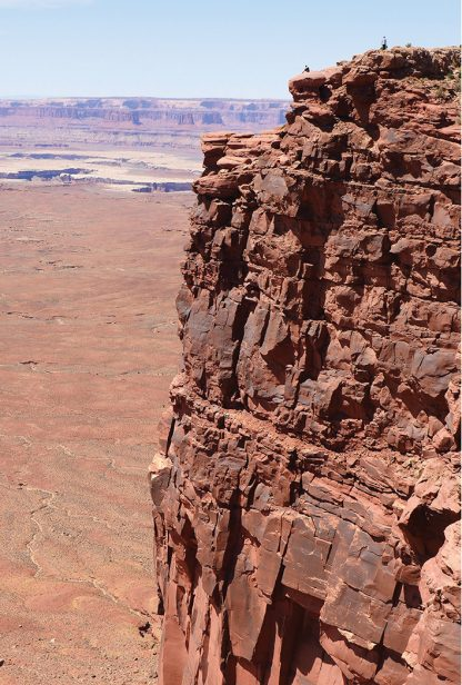 tiny people on high canyon wall, Island in the Sky, Canyonlands, national park, Utah, postcard