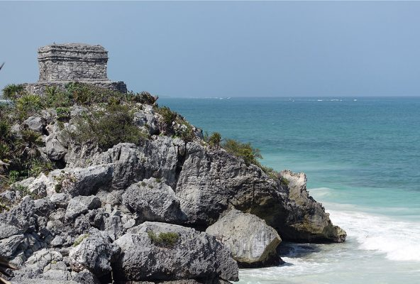 Maya temple on the rocky shore of Tulum, Mexico